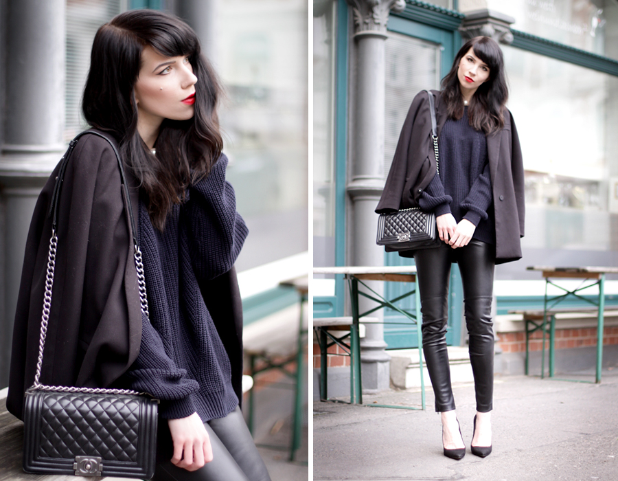 parisian outfit navy blue knit sweater pullover leather pants red lips how to be parisian wherever you are styling ootd outfit fashionblogger ricarda schernus blog cats & dogs wie hund und katze berlin hannover 6