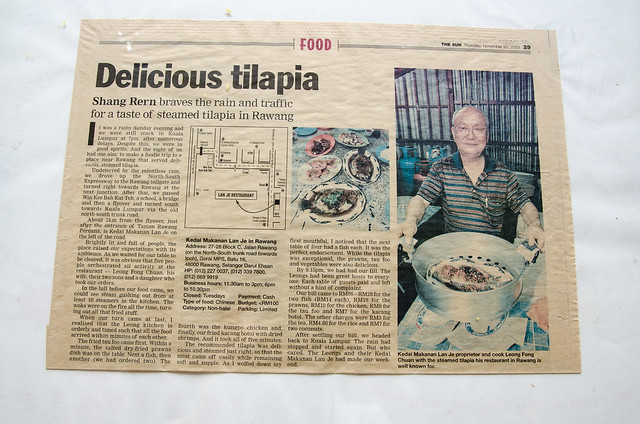 Newspaper cutting of Restoran Lan Je Steamed Fish