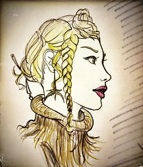 Lejen Meable Ashgurr - Hairstyle study sketch - Dino Olivieri