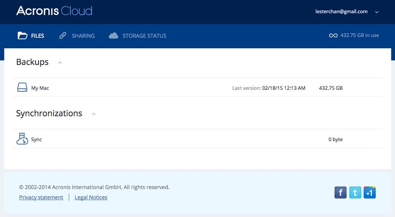 Acronis True Image 2015 - Web Interface - Files
