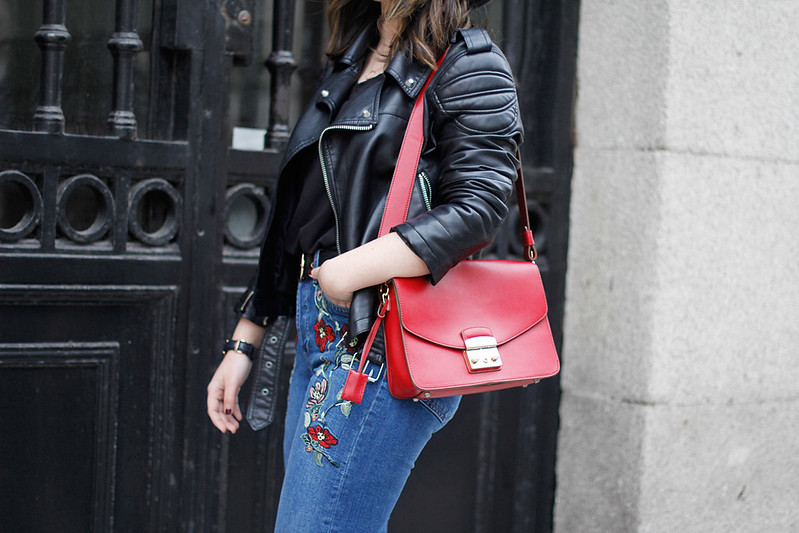 embroidered jeans topshop moto mary jane red shoes zara street style myblueberrynightsblog
