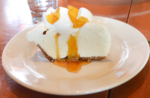 Meyer lemon gelato pie, champagne vinegar syrup