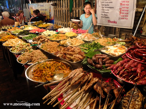 Parada del mercado en Luang Prabang