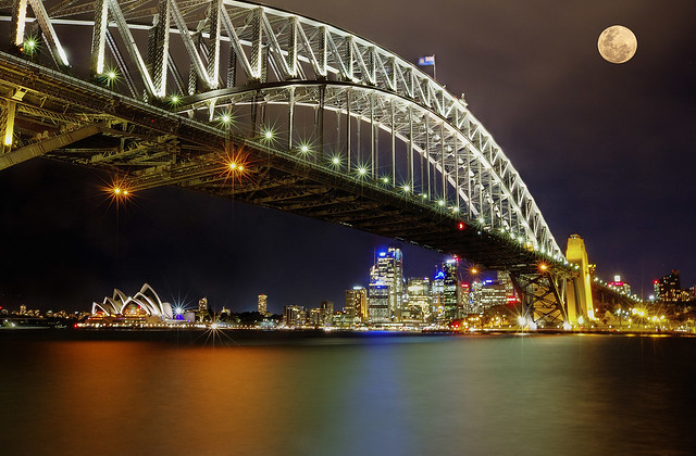 Sydney Bridge Opera House and Supermoon