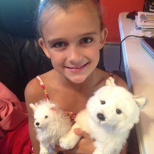 Went to lunch and stopped at a few garage sales with my girl today. She was so exited when the first one had these mom and baby Arctic Foxes. Her favorite animal!