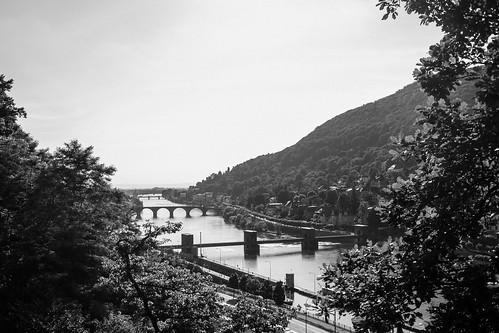 Heidelberg vier Brücken schwarzweiß