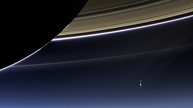 Photo:View of Earth from Saturn [annotated] By:NASA Goddard Photo and Video