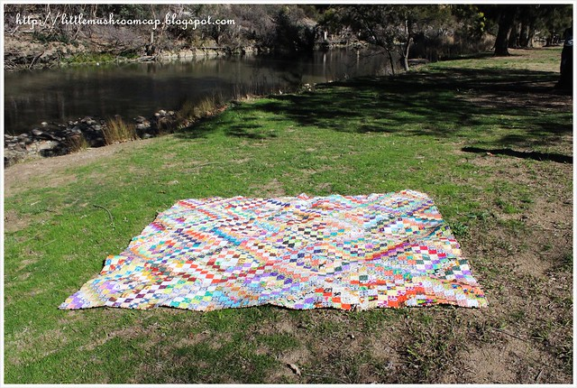 ScrappyTrip Along Quilt_laid on the ground