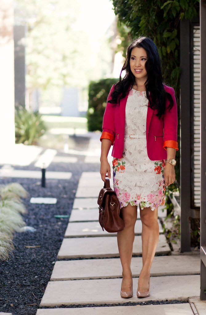 zara pink blazer, choies floral dress with cut out, via spiga nude pumps, mulberry alexa look for less satchel outfit #ootd