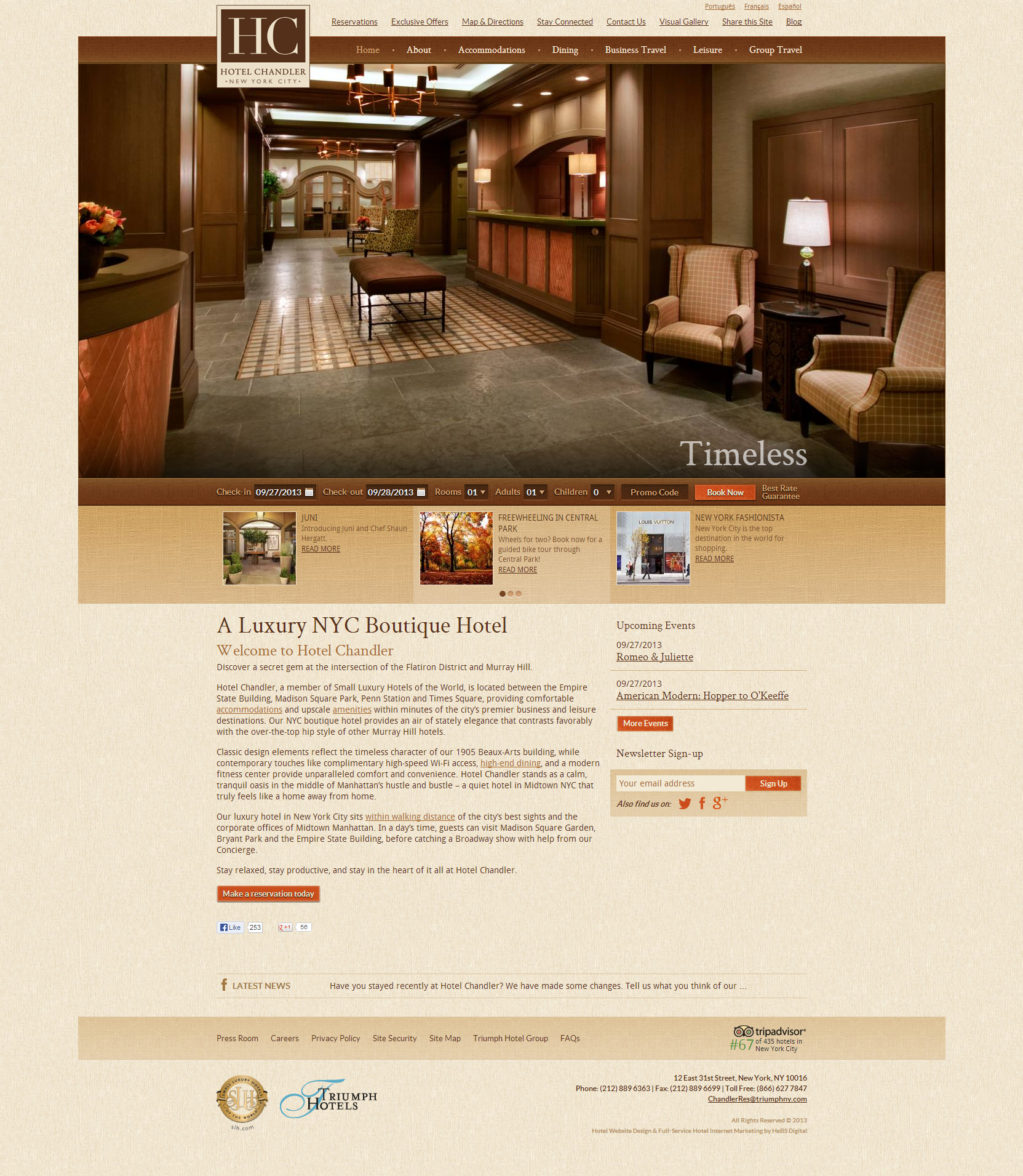 Website Inspiration - Hotel Chandler