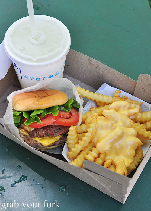 double shackburger with cheese fries at shake shack hamburgers madison square park nyc new york usa