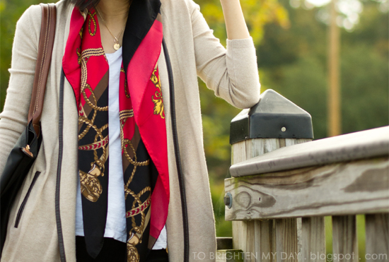 open cardigan, chain scarf