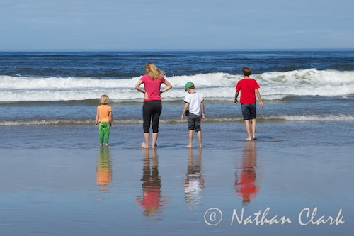 Kids Waiting for the Waves at the Oregon Coast