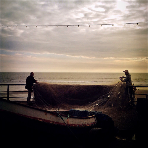 Preparing Nets, Filey, Yorkshire