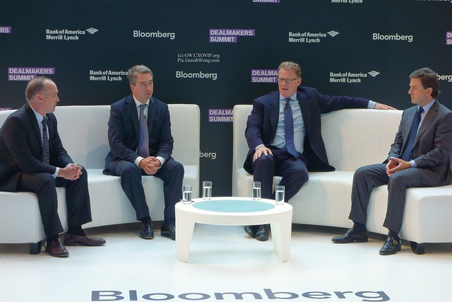 Bill Benjamin, Head of European RE, Ares, David Brush, Managing Partner, Brookfield, Andrew Sim, Head of European Capital Markets, Knight Frank, moderated Jeff St. Onge, Bloomberg News panel from RAW _DSC1181
