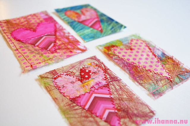 Mixed Media Valentine tags (Copyright Hanna Andersson)