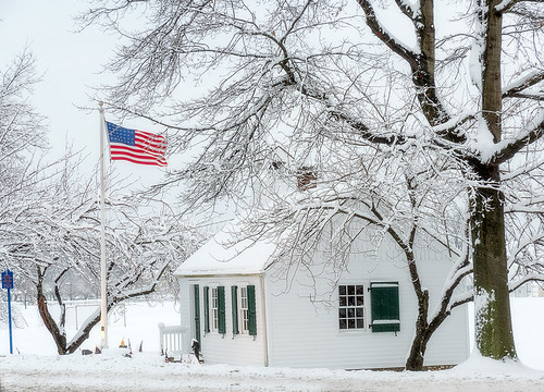 Little Schoolhouse in Snow