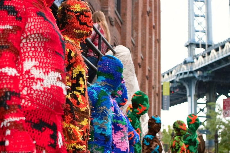 Wearable Sculptures: 100% Acrylic Art Guards by Agata Olek / Dumbo Arts Center: Art Under the Bridge Festival 2009 / 20090926.10D.54783.P1.L1.C23 / SML