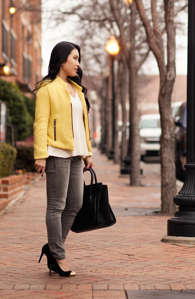 cute & little blog | yellow boucle blazer, white knit flutter sweater, gray skinny jeans, layered dainty necklaces | fall winter layers outfit