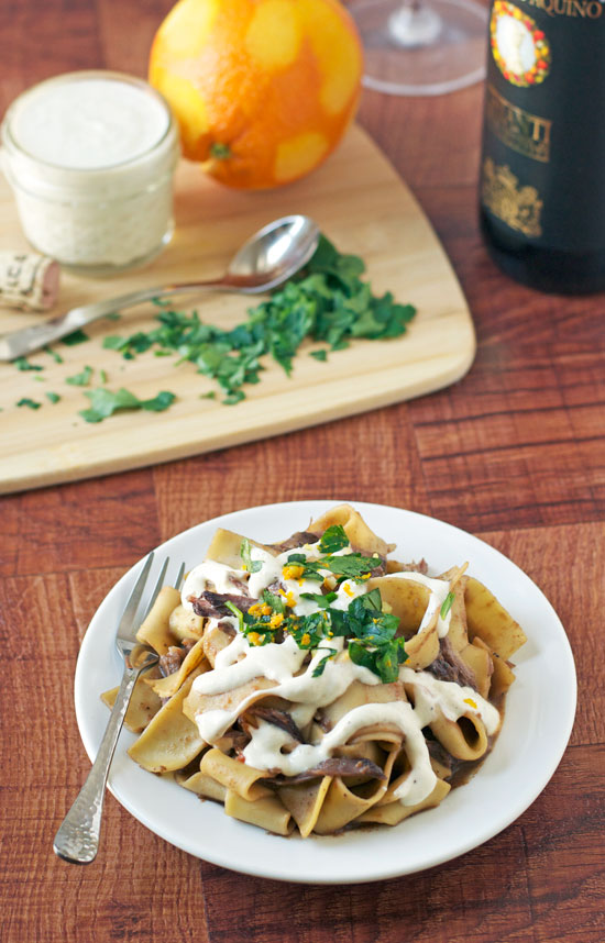 Braised Short Rib Pasta with Horseradish Cream Sauce