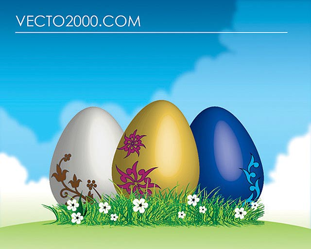 Easter Eggs on Green Grass fresh best free vector packs kits