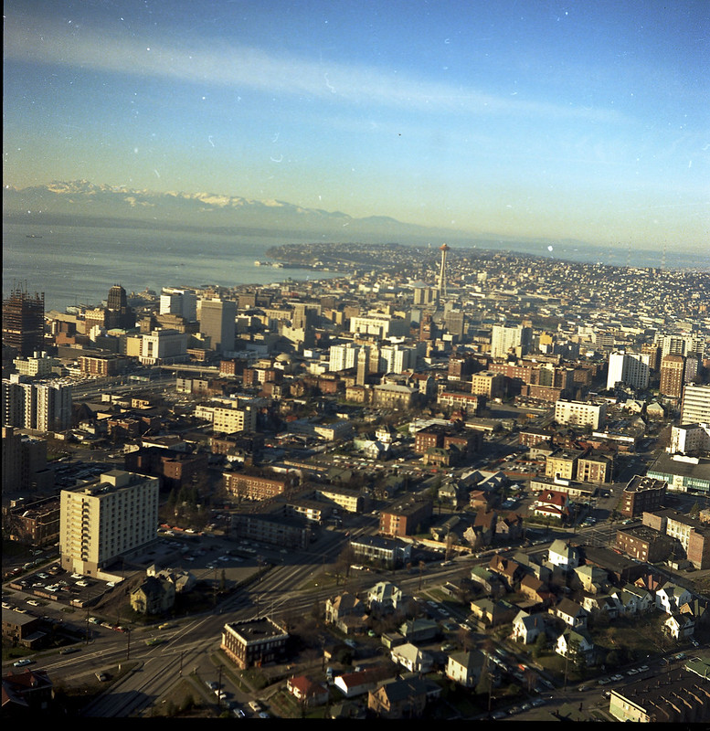 Aerial of downtown, 1968