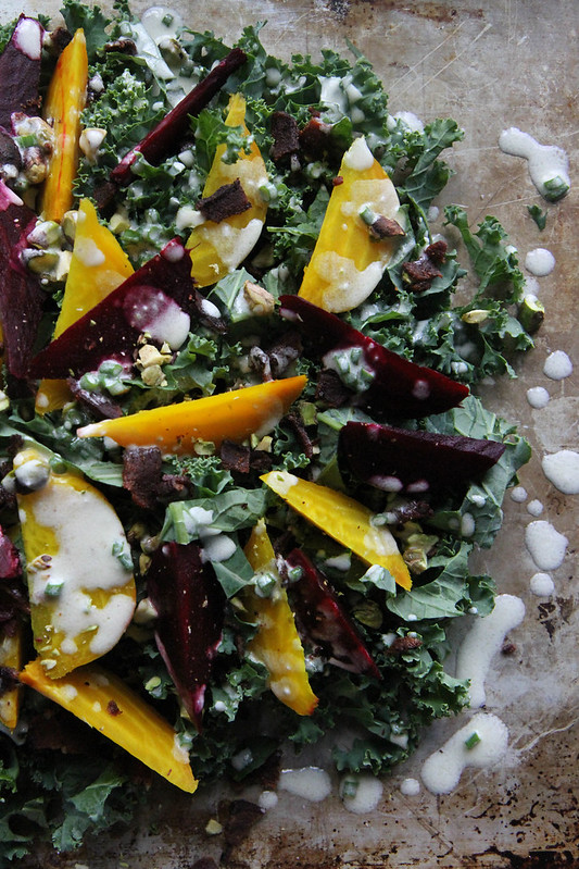 To make the goat cheese vinaigrette, combine all of the ingredients in ...