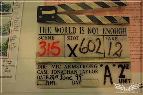 The Establishing Shot BOND IN MOTION - THE WORLD IS NOT ENOUGH VIC ARMSTRONG CLAPPER BOARD @ LONDON FILM MUSEUM COVENT GARDEN by Craig Grobler