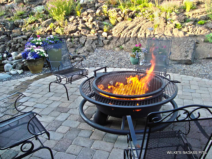 """ELK AND TREE DESIGN, 2"""" SOLE SAVER AND REGULAR GRILL (TURNED INTO A GAS FIREPIT"""