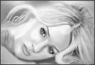 Digital portrait blonde lady
