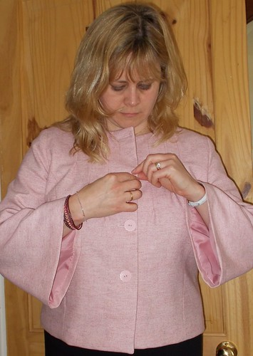 Pink herringbone tweed jacket