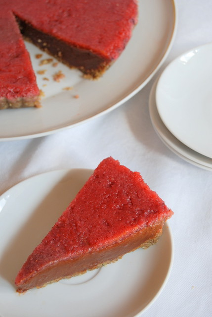 Chocolate Sweet Potato Pie with Strawberry Gelée