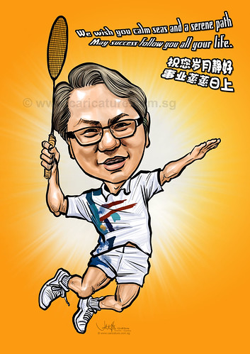 digital badminton player caricature for BAT (watermarked)