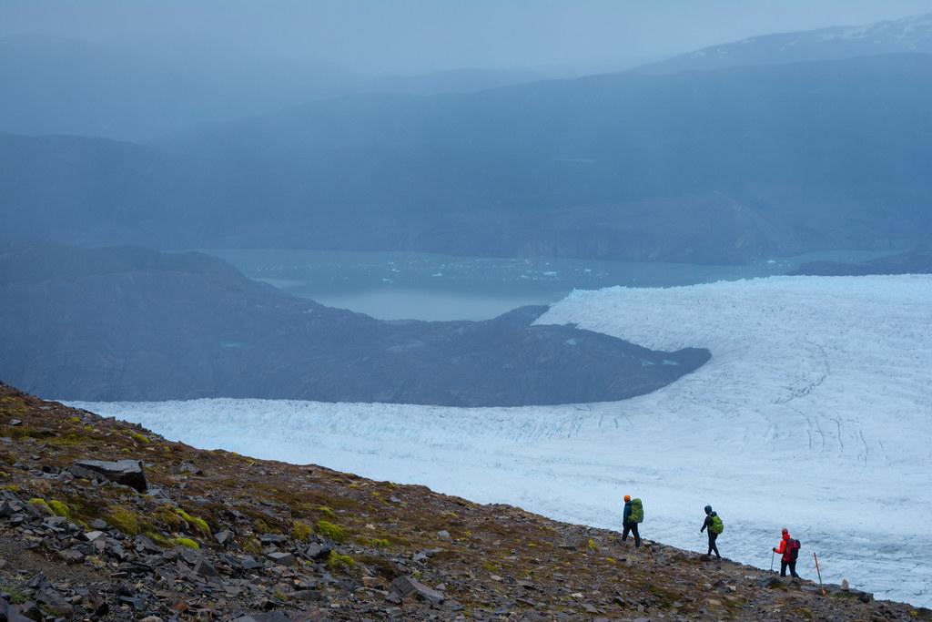 Hiking along Grey Glacier