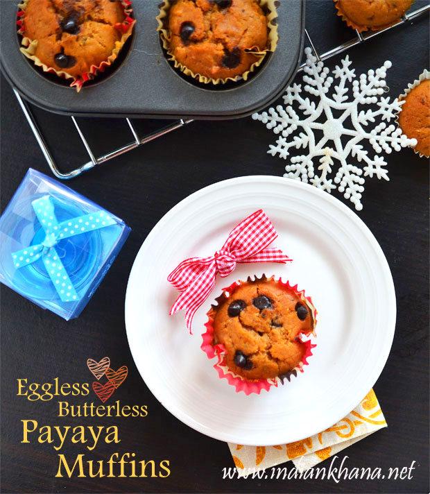 Eggless-Papaya-Chocochip-Muffin-Recipe