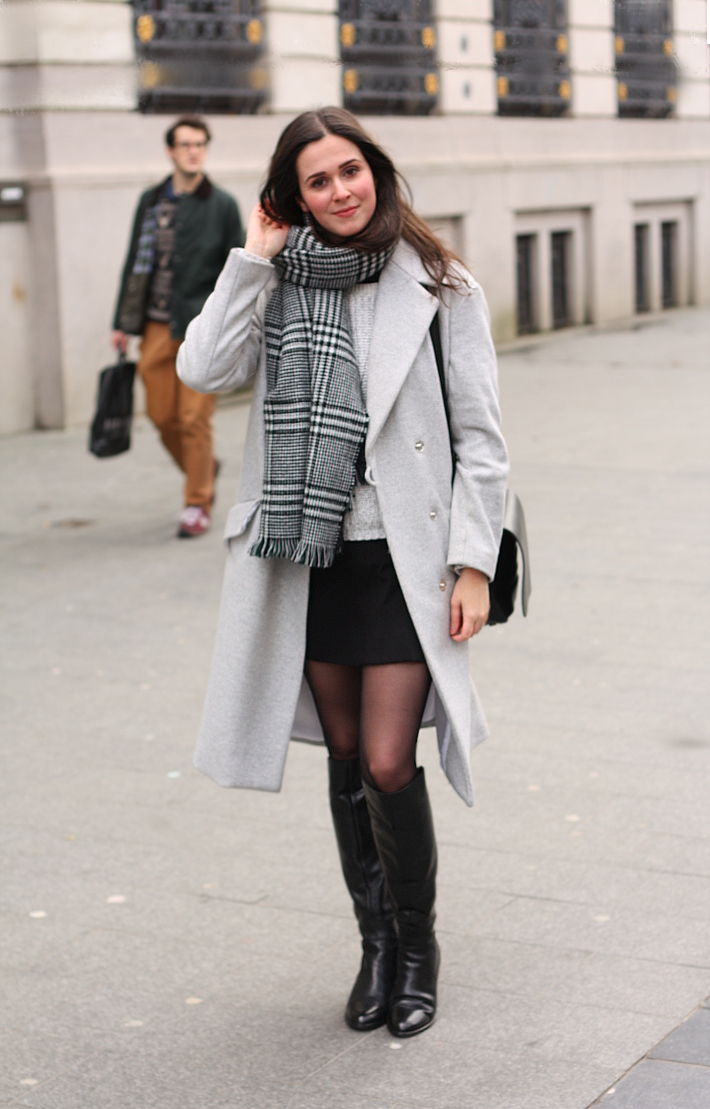 outfit: grey winter coat, over the knee boots, plaid scarf