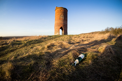 uk winter sunset fish eye tower field reading bottle empty sony country fisheye adventure berkshire goldenhour wildersfolly