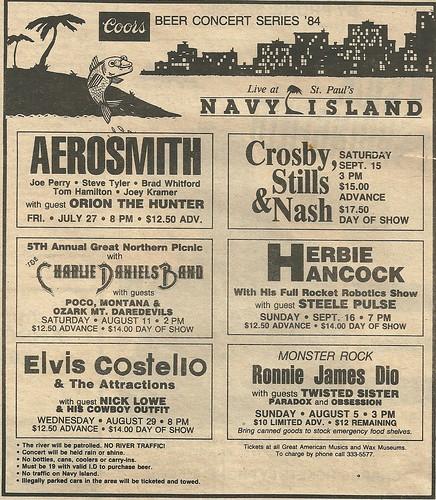 July-August-September 1984 Coors Beer Concert Series @ Navy Island, St. Paul, MN