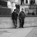 Men smoking outside National Gallery, Trafalgar Square, London WC2, 26th Jan 2015