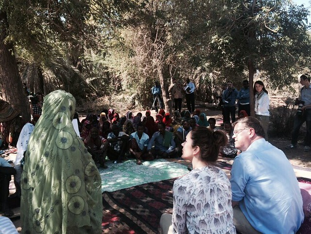 Crown Princess Mary of Denmark and Danish Minister for Trade and Development Cooperation, Mr. Mogens Jensen sit for a community conversation on FGM/C & Child Marriage in Afar