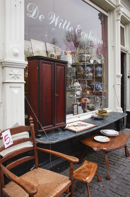 Antiques shops on Oudegracht, Utrecht