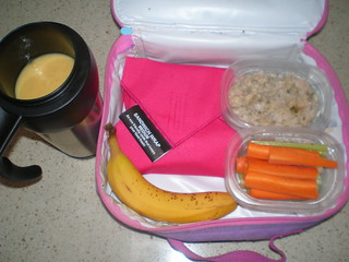 Nut butter and jelly sandwich; Easy Ranch Dip; carrot and celery sticks; bananas; mango smoothie
