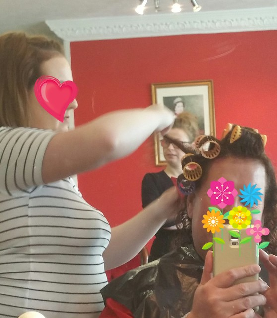 Charlotte setting me in curlers