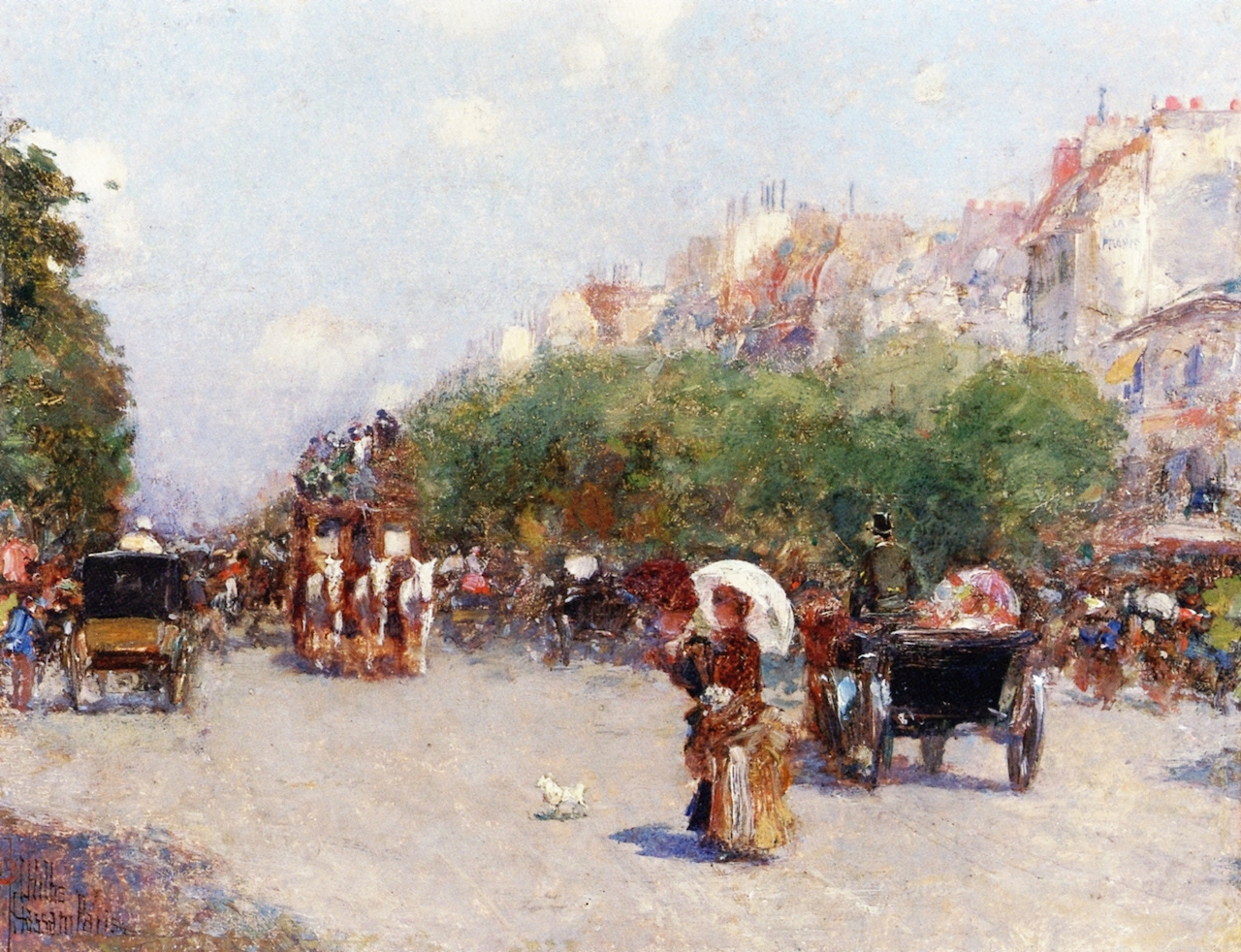 Paris Street Scene by Frederick Childe Hassam