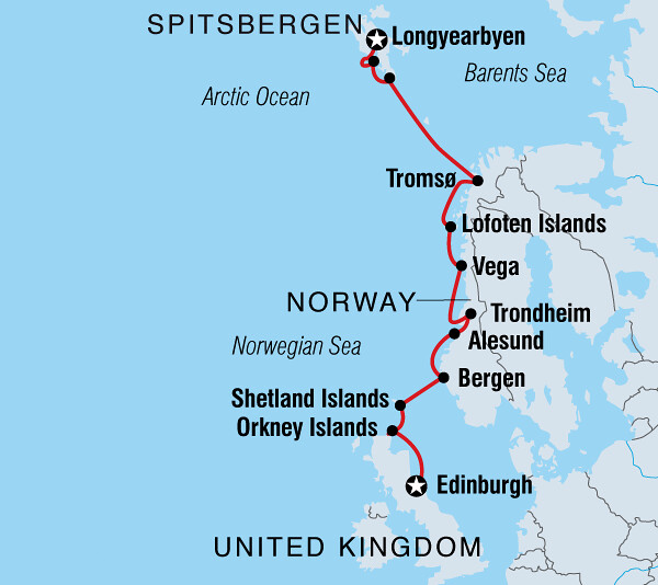 Quark trip route, Scotland to Spitsbergen