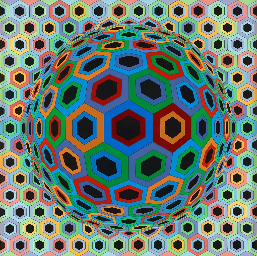 "Oeuvre de Victor Vasarely ""Sin Hat 33"" (1972-73) - Photo de Gandalf's Gallery"