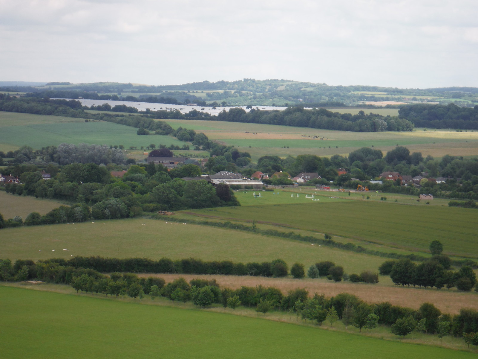 Broughton from Broughton Down, with Solar Panel Farm beyond SWC Walk 265 - Dean to Mottisfont & Dunbridge