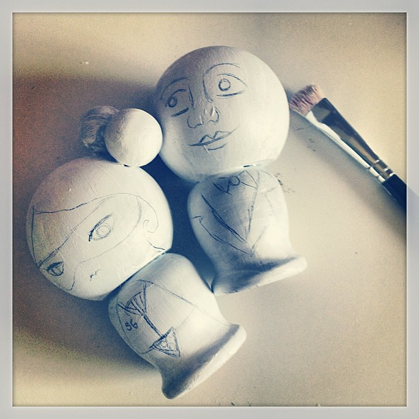 Working on some some kokeshi dolls. #kokeshidolls