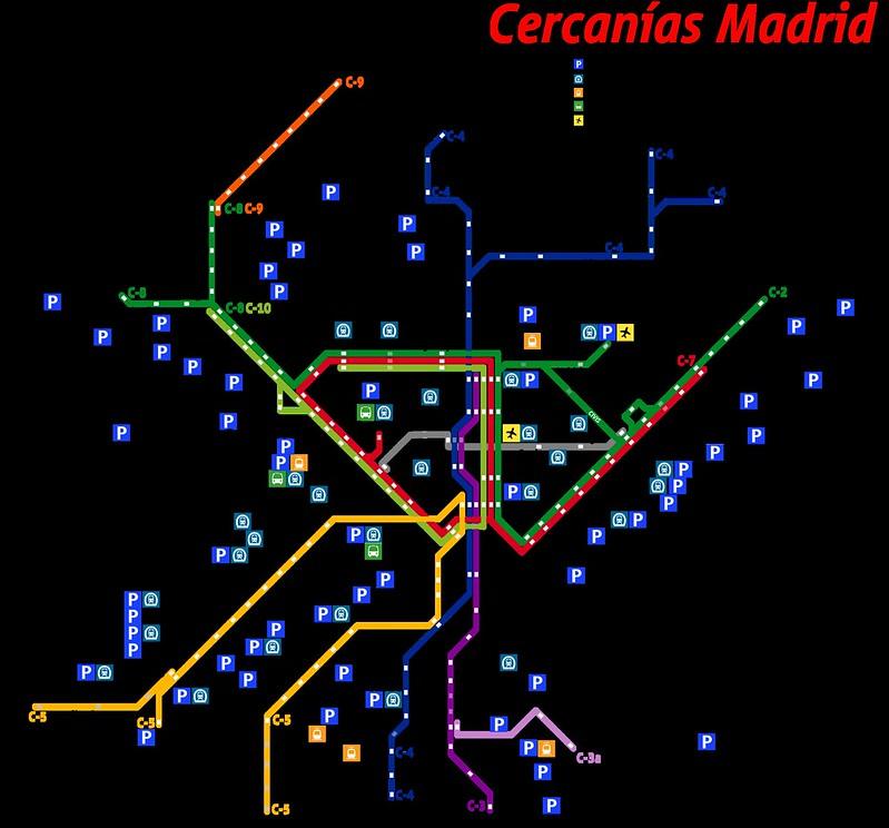 Mapa de Transportes na Provincia de Madrid
