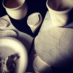 The whole family's kiln contributions.  Time for a glaze party!!!